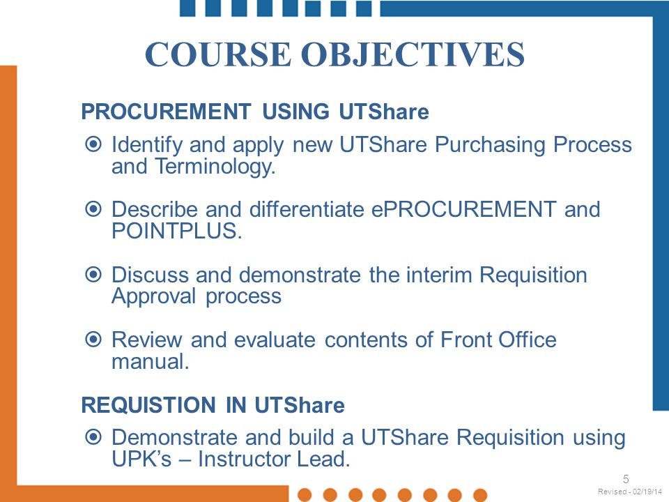 COURSE OBJECTIVES PROCUREMENT USING UTShare