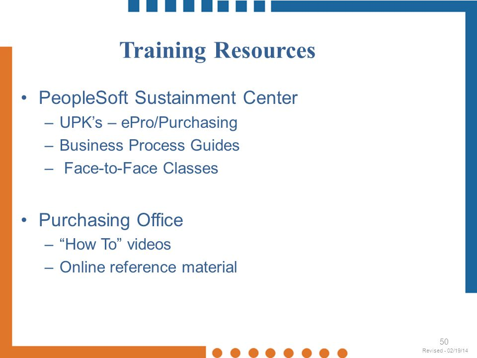 Training Resources PeopleSoft Sustainment Center Purchasing Office
