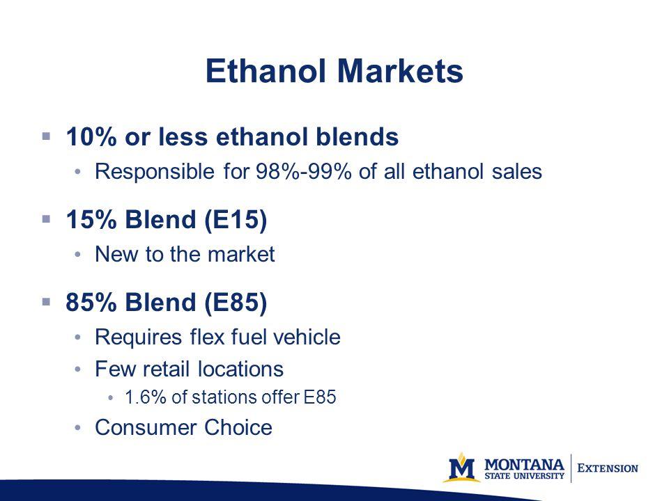 Ethanol Markets 10% or less ethanol blends 15% Blend (E15)