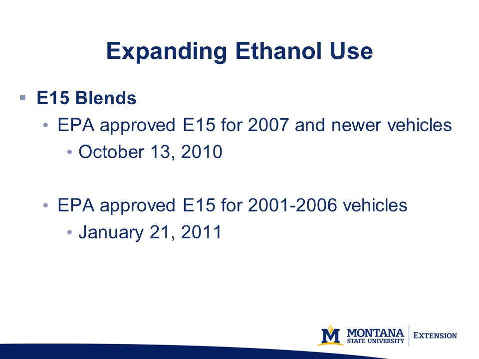 Expanding Ethanol Use E15 Blends