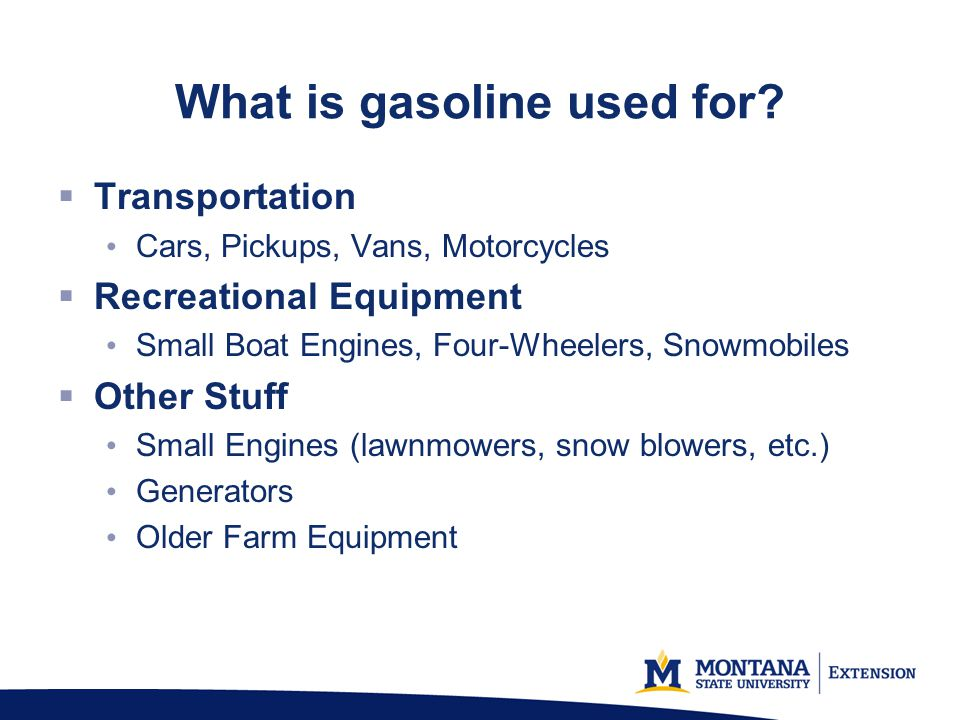 What is gasoline used for
