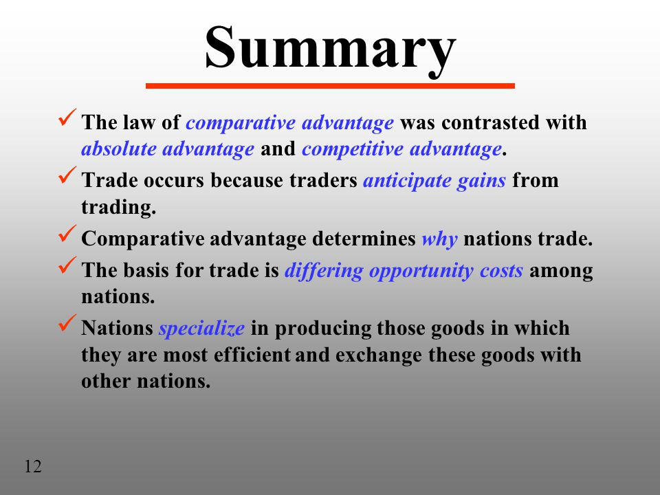 Summary The law of comparative advantage was contrasted with absolute advantage and competitive advantage.