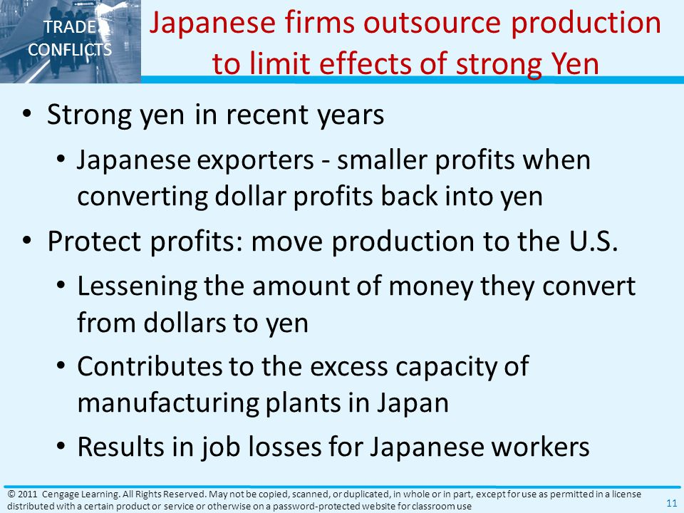 Japanese firms outsource production to limit effects of strong Yen