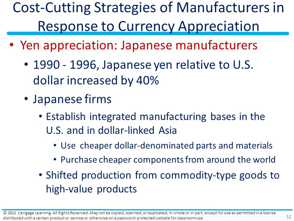 Cost-Cutting Strategies of Manufacturers in Response to Currency Appreciation
