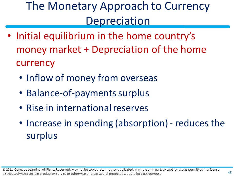 The Monetary Approach to Currency Depreciation