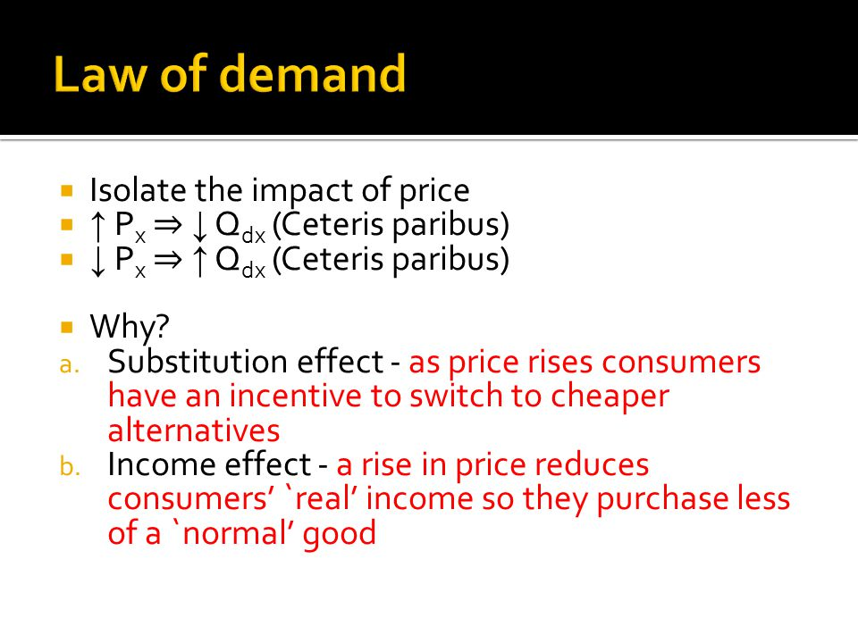 Law of demand Isolate the impact of price