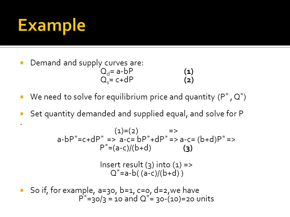 Example Demand and supply curves are: Qd= a-bP (1) Qs= c+dP (2)