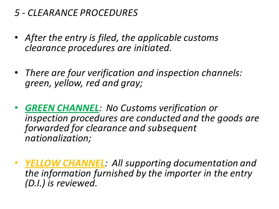 5 - CLEARANCE PROCEDURES