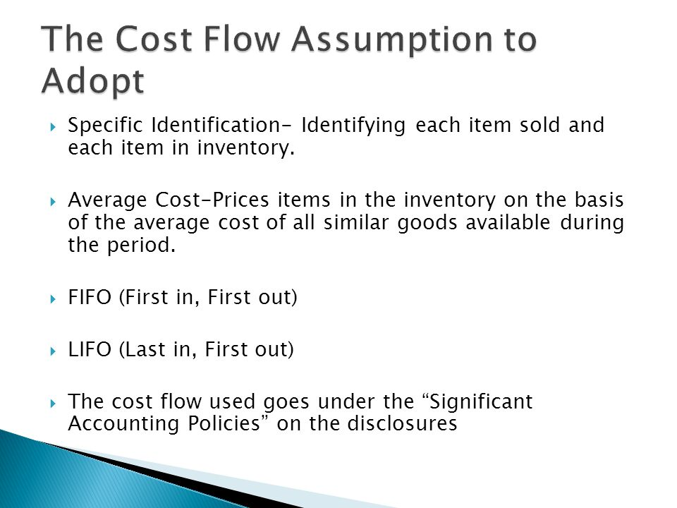 The Cost Flow Assumption to Adopt