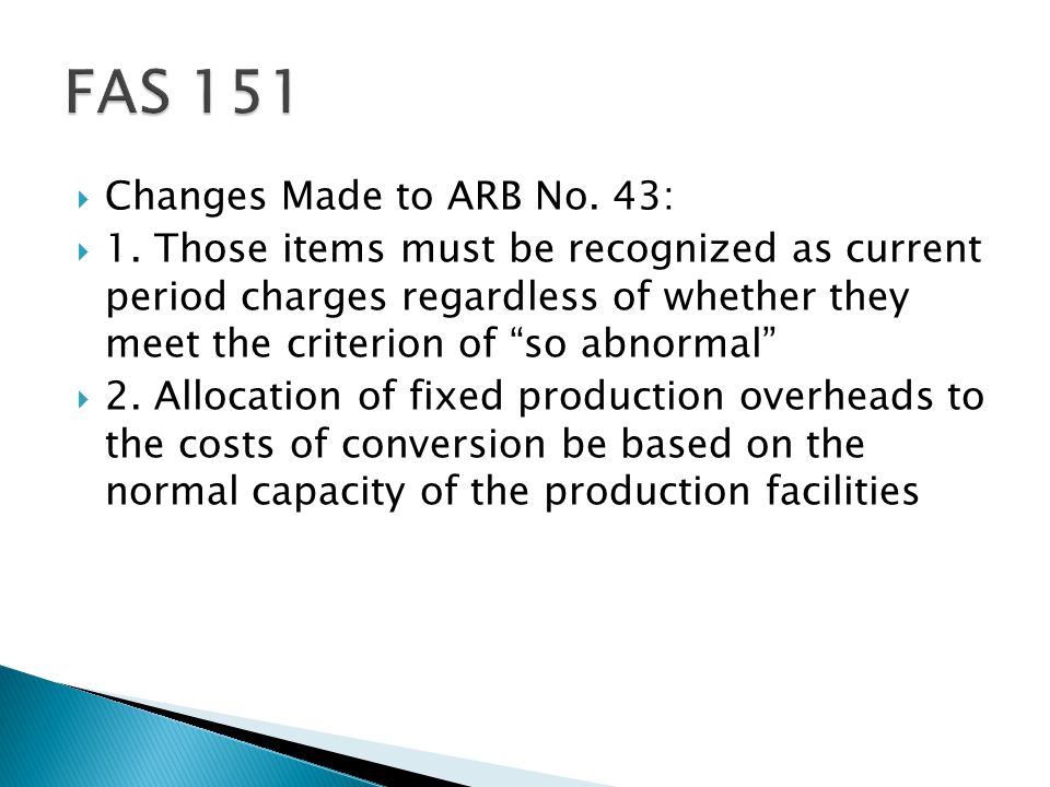 FAS 151 Changes Made to ARB No. 43: