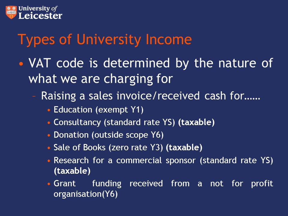 Types of University Income