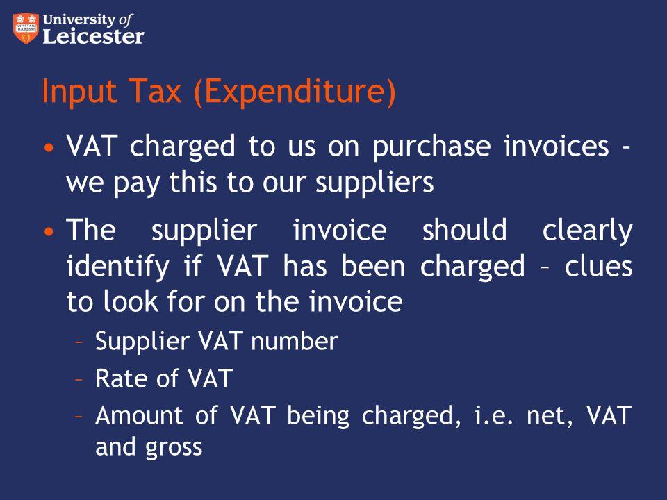 Input Tax (Expenditure)