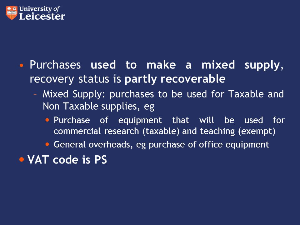 Purchases used to make a mixed supply, recovery status is partly recoverable