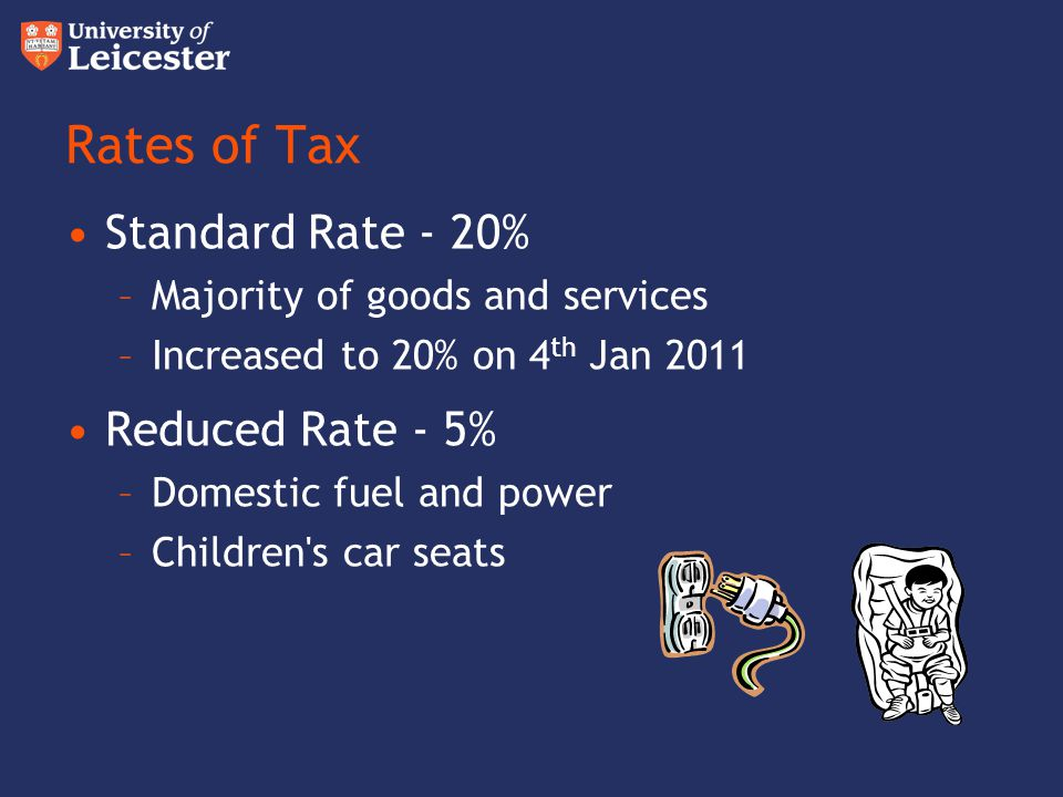Rates of Tax Standard Rate - 20% Reduced Rate - 5%