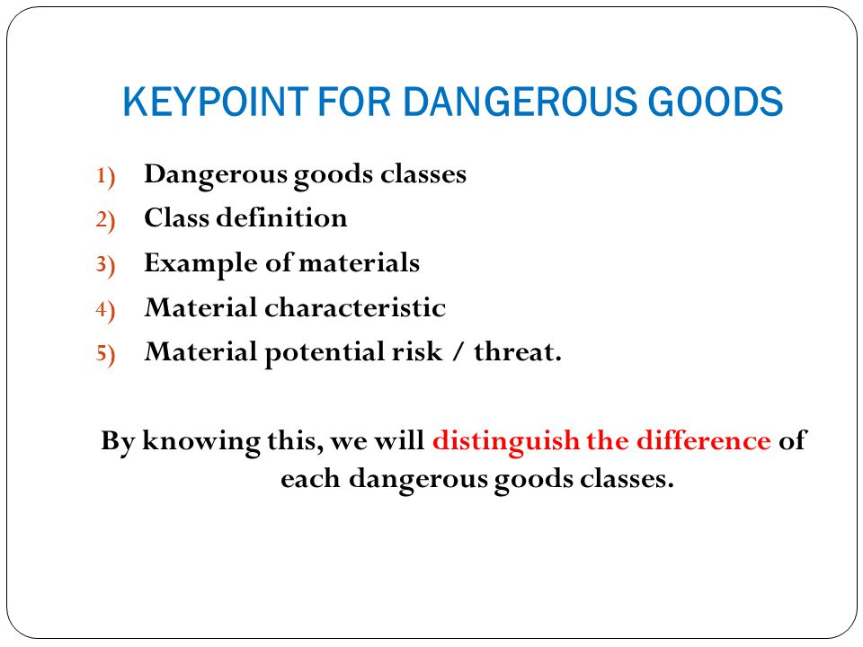 KEYPOINT FOR DANGEROUS GOODS