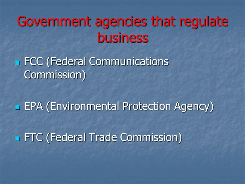Government agencies that regulate business