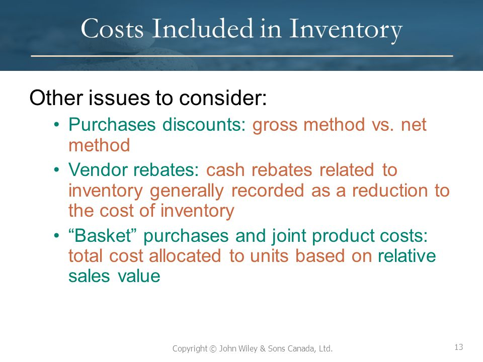 Costs Included in Inventory