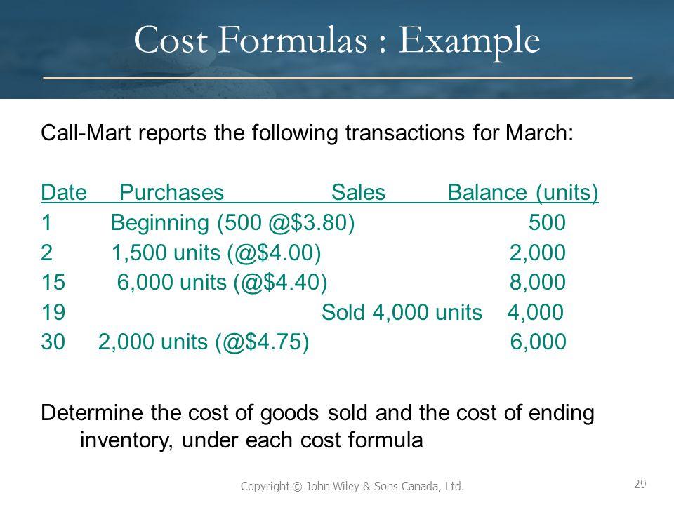 Cost Formulas : Example