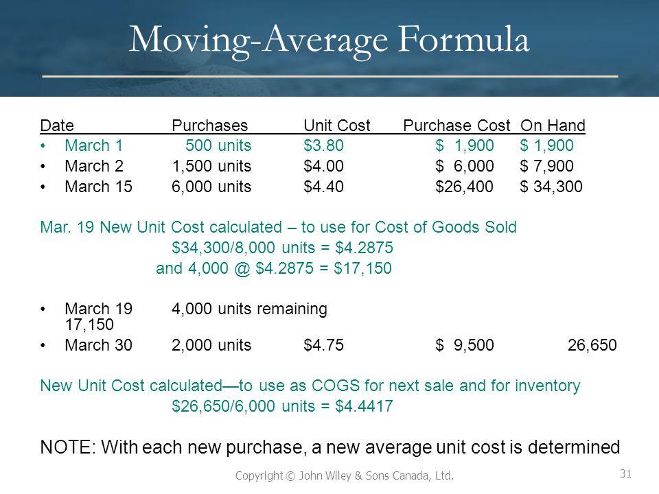 Moving-Average Formula