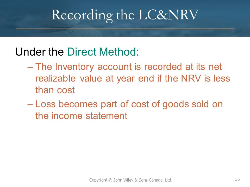 Recording the LC&NRV Under the Direct Method: