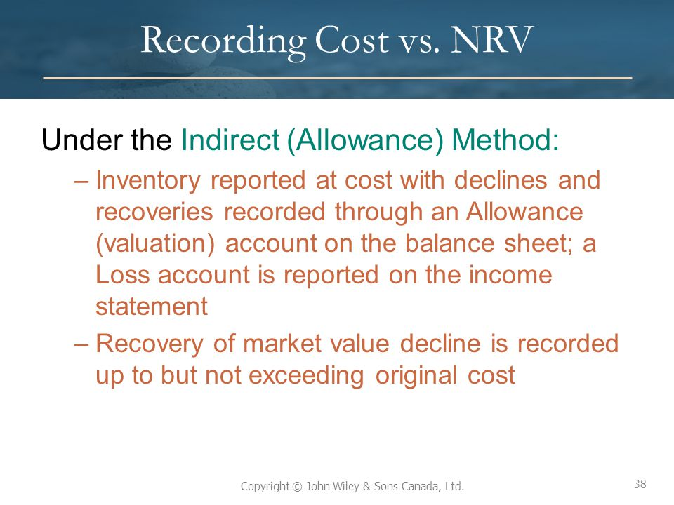 Recording Cost vs. NRV Under the Indirect (Allowance) Method: