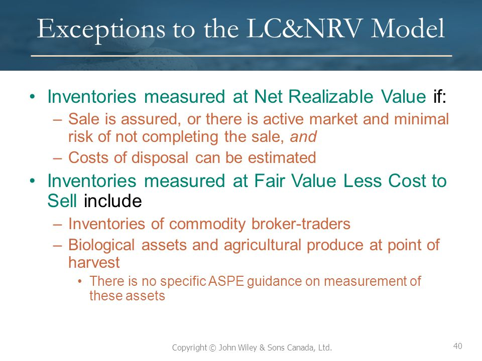 Exceptions to the LC&NRV Model