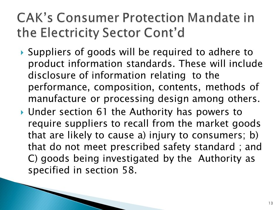 CAK's Consumer Protection Mandate in the Electricity Sector Cont'd