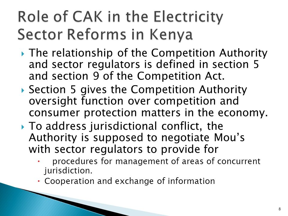 Role of CAK in the Electricity Sector Reforms in Kenya