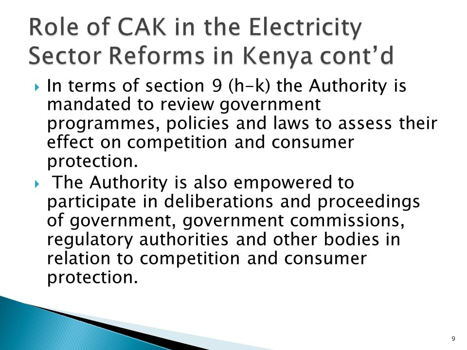 Role of CAK in the Electricity Sector Reforms in Kenya cont'd