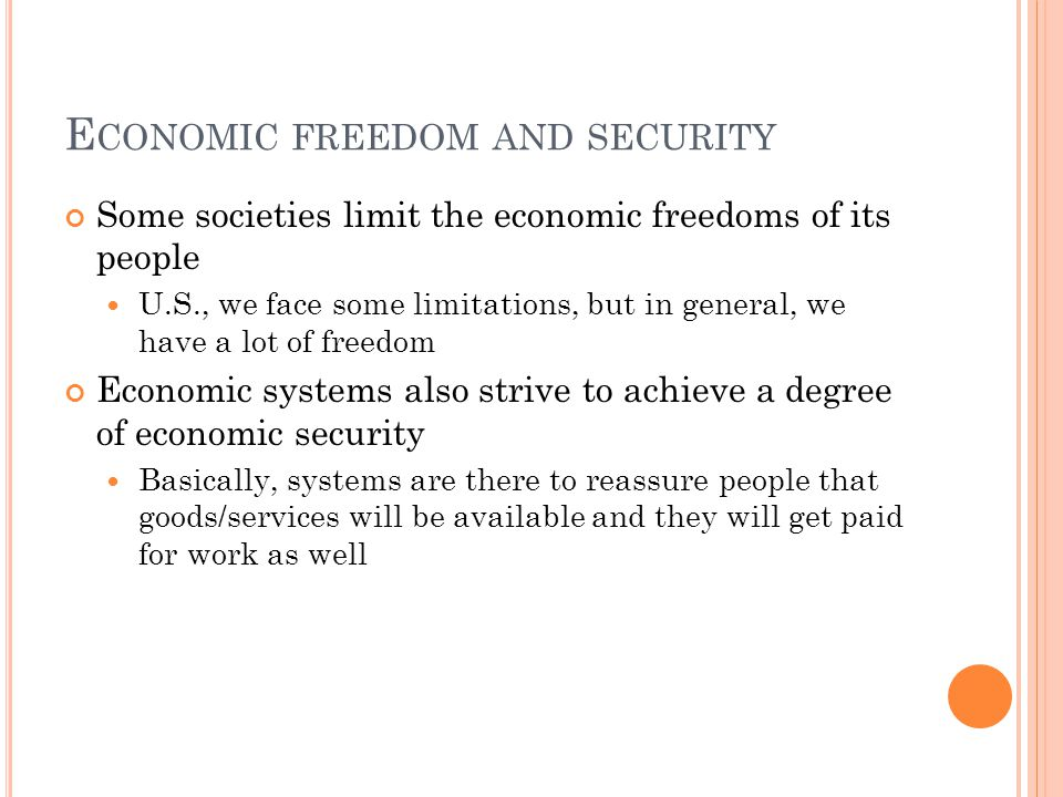 Economic freedom and security