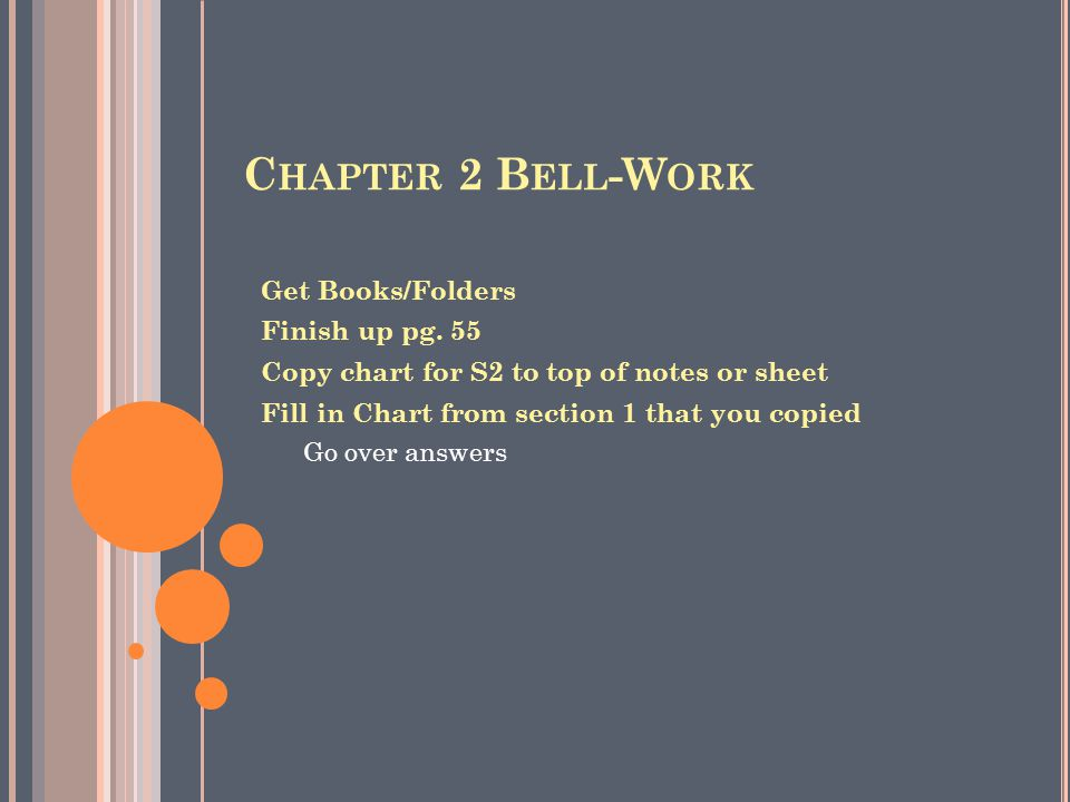 Chapter 2 Bell-Work Get Books/Folders Finish up pg. 55