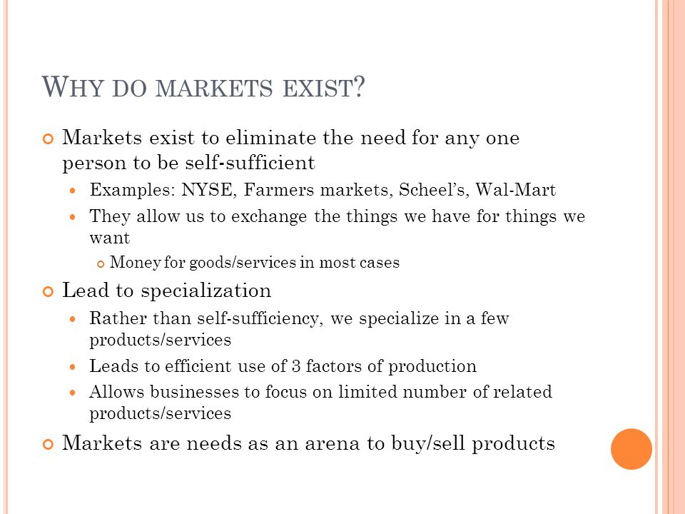 Why do markets exist Markets exist to eliminate the need for any one person to be self-sufficient.