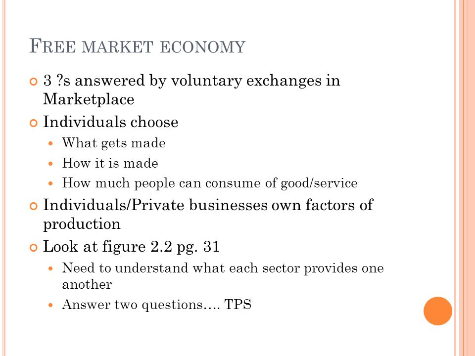 Free market economy 3 s answered by voluntary exchanges in Marketplace. Individuals choose. What gets made.