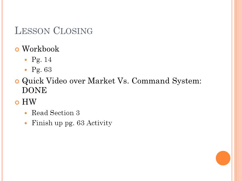 Lesson Closing Workbook