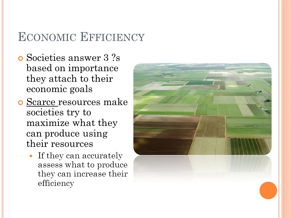 Economic Efficiency Societies answer 3 s based on importance they attach to their economic goals.