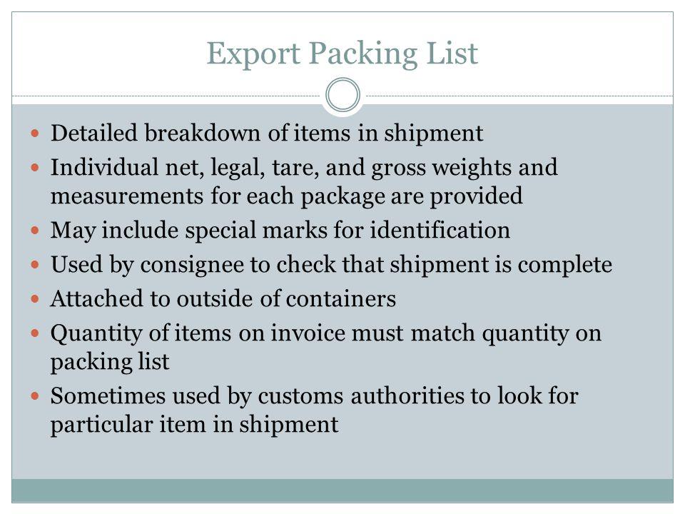 Export Packing List Detailed breakdown of items in shipment