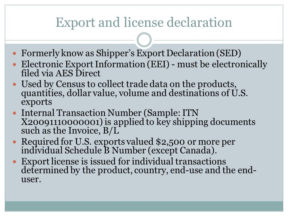 Export and license declaration