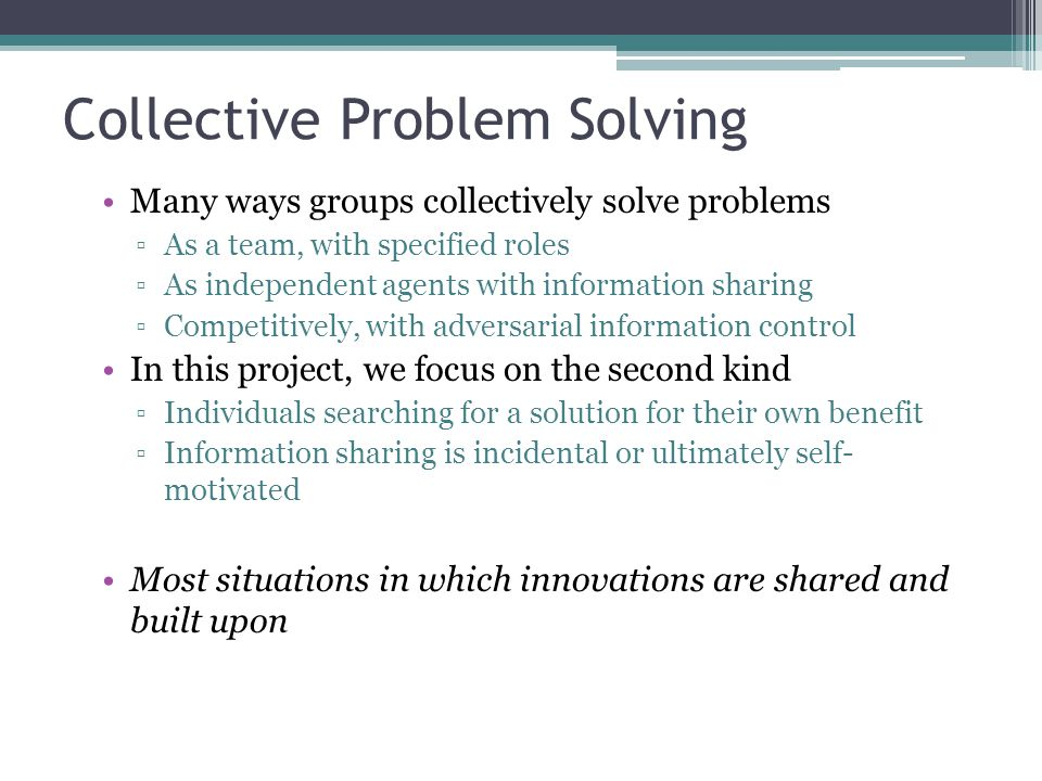 Collective Problem Solving