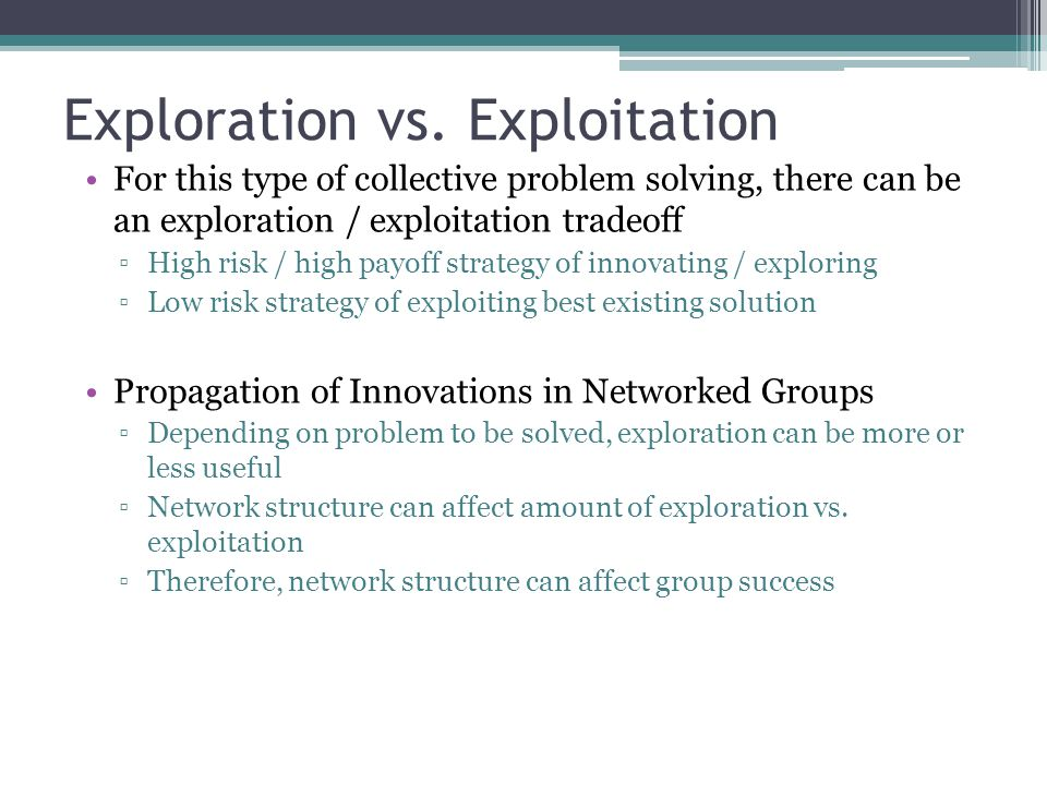 Exploration vs. Exploitation