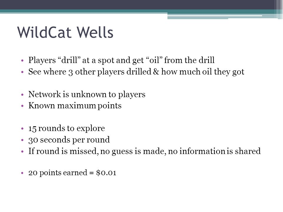 WildCat Wells Players drill at a spot and get oil from the drill