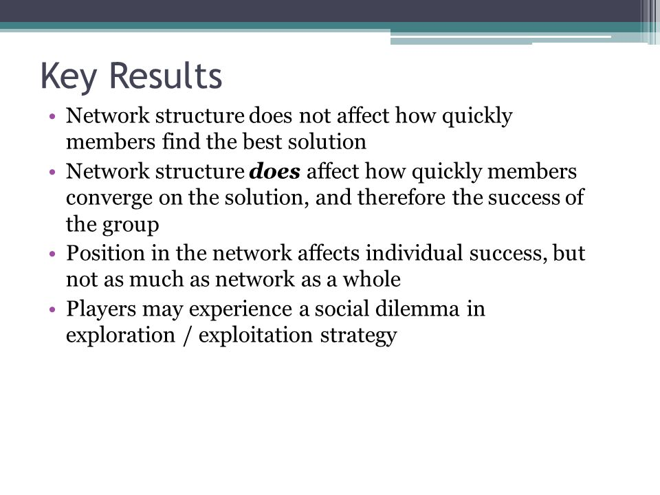 Key Results Network structure does not affect how quickly members find the best solution.