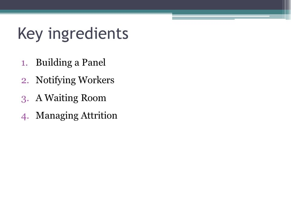 Key ingredients Building a Panel Notifying Workers A Waiting Room