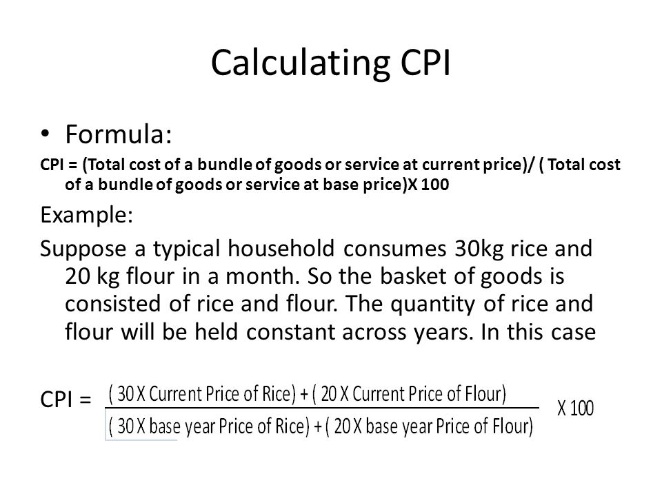 Calculating CPI Formula: Example: