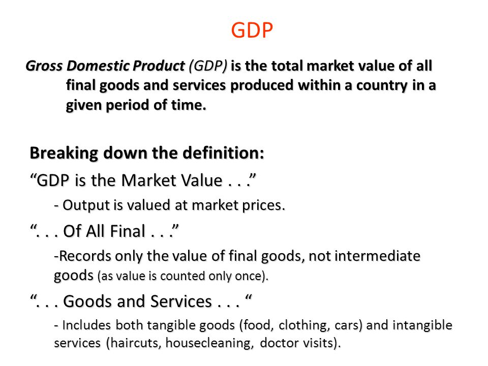 GDP Breaking down the definition: GDP is the Market Value . . .