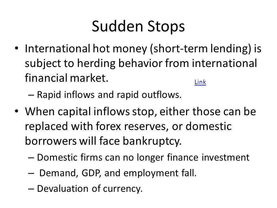 Sudden Stops International hot money (short-term lending) is subject to herding behavior from international financial market.