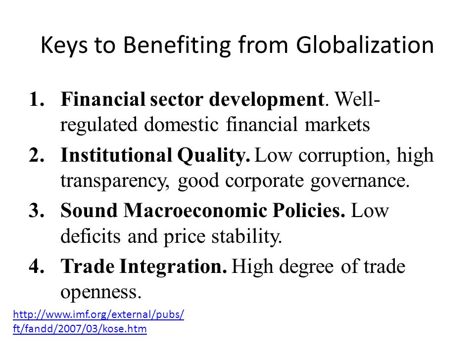 Keys to Benefiting from Globalization
