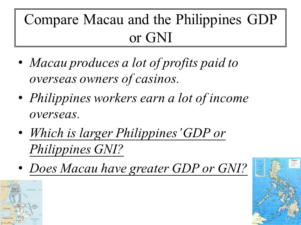 Compare Macau and the Philippines GDP or GNI