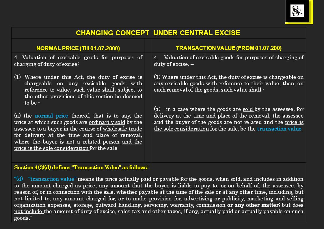 CHANGING CONCEPT UNDER CENTRAL EXCISE