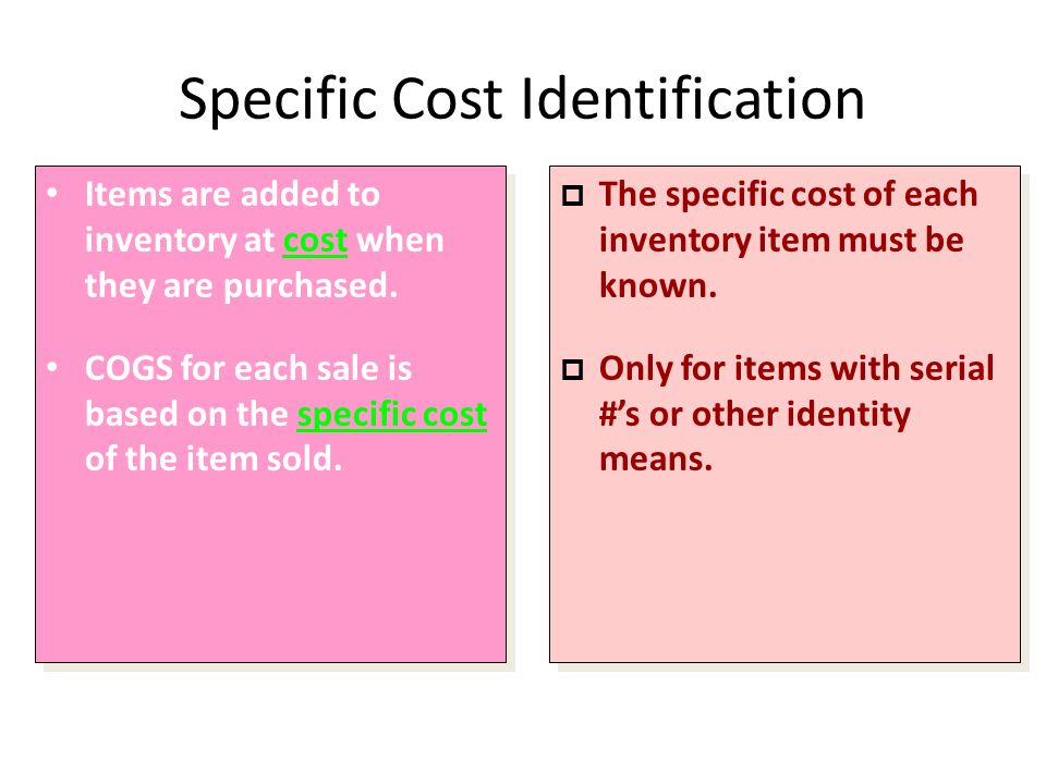 Specific Cost Identification