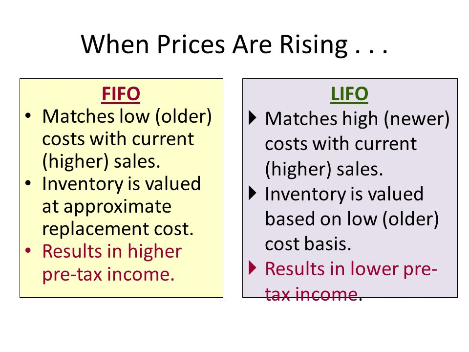 When Prices Are Rising . . . FIFO